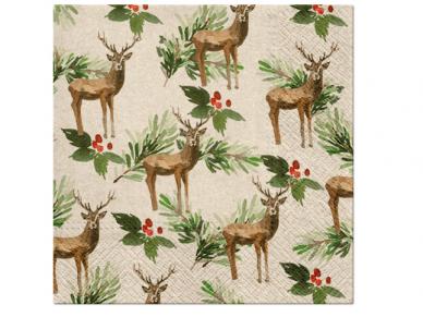 "Ekologiškos servetėlės ""Deers and Holly"""