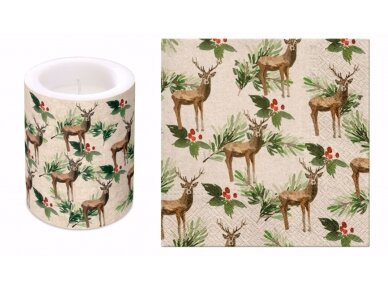 "Ekologiškos servetėlės ""Deers and Holly"" 2"