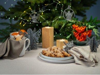 """Kalėdiniai stalo papuošimai """"Angelas"""", šviesiai pilka 5"""