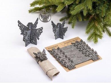 """Kalėdiniai stalo papuošimai """"Angelas"""", šviesiai pilka 3"""
