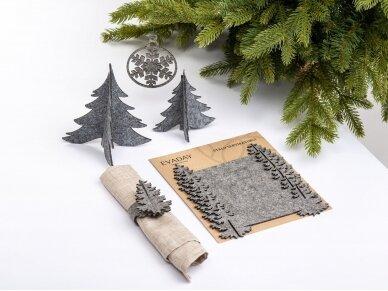 """Kalėdiniai stalo papuošimai """"Eglutė"""", šviesiai pilka 3"""