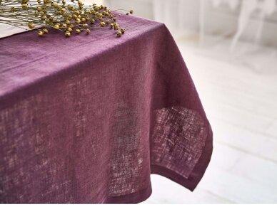 Lininė staltiesė baklažano spalvos