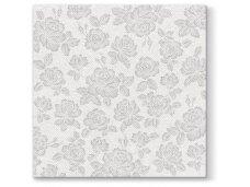 Servetėlės sidabrinės Airlaid, Subtle roses silver