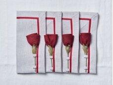 """Servetėlių rinkinys pilkas """"4 bordo rožės"""""""