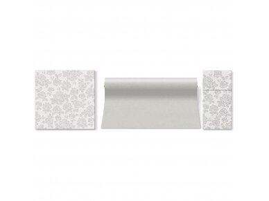 Servetėlė įrankiams sidabrinė Airlaid, subtle roses silver 2