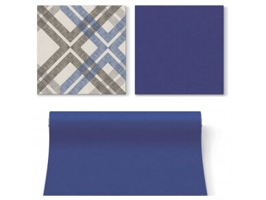 Servetėlės mėlynos Airlaid, Stylish Check dark blue 4