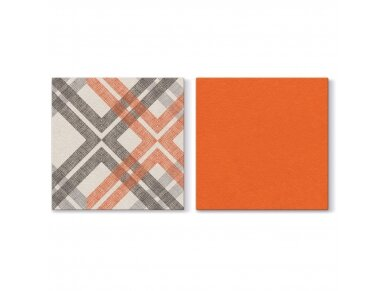 Servetėlės oranžinės Airlaid, Stylish Check orange 2