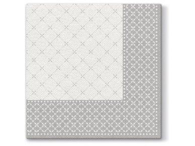 Servetėlės sidabrinės  Airlaid, Subtle grid silver