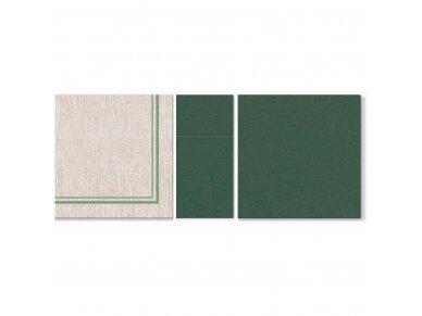 Servetėlės žalios Airlaid, natural frame dark green 2