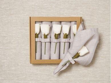"""Servetėlių rinkinys melsvas """"6 baltos rožės"""""""