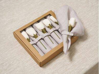 """Servetėlių rinkinys melsvas """"6 baltos rožės"""" 3"""