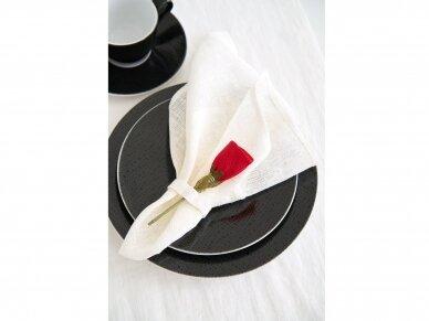 """Servetėlių rinkinys baltas """"6 raudonos rožės"""" 4"""