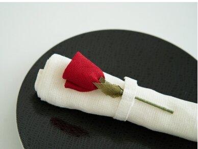 """Servetėlių rinkinys baltas """"6 raudonos rožės"""" 3"""