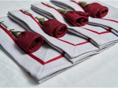 """Servetėlių rinkinys pilkas """"4 bordo rožės"""" 4"""