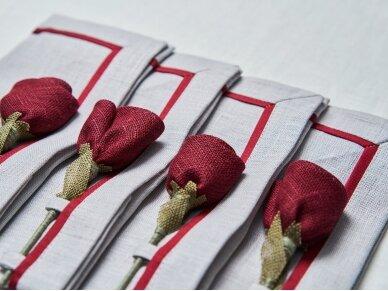 """Servetėlių rinkinys pilkas """"4 bordo rožės"""" 2"""