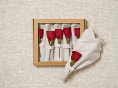"""Servetėlių rinkinys smėlinis """"6 raudonos rožės"""""""