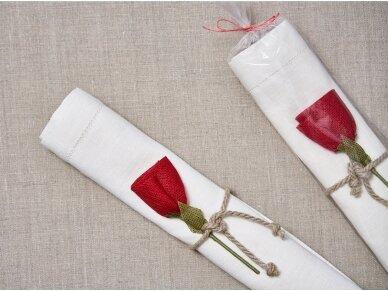"""Takelis mereškuotas balto lino """"Rožė"""" 4"""