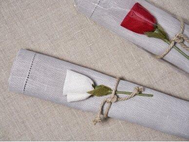 """Takelis mereškuotas pilko lino """"Rožė"""" 3"""