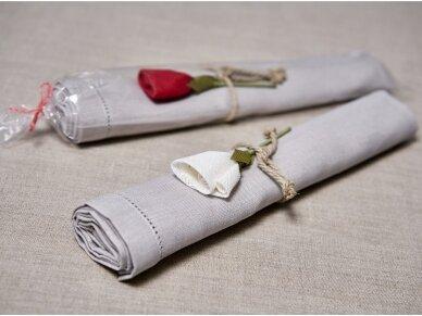 """Takelis mereškuotas pilko lino """"Rožė"""" 2"""