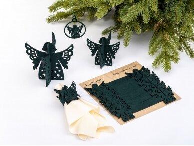 """Kalėdiniai stalo papuošimai """"Angelas"""", tamsiai žalia 3"""
