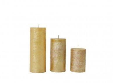 Žvakė dekoruota auksinės spalvos,  Ø 7 cm