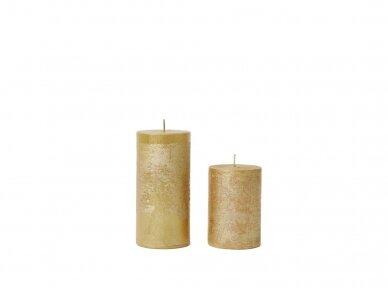 Žvakė dekoruota auksinės spalvos,  Ø 7 cm 2