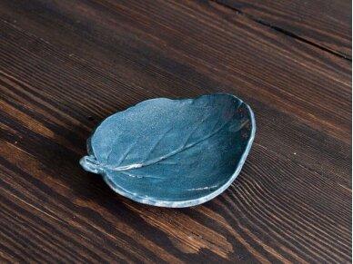 """Žvakidė keramikinė """"Mėlynas lapas"""""""